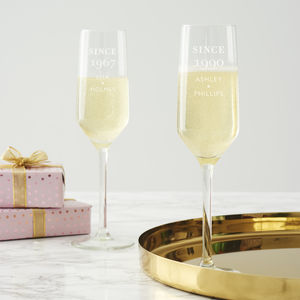 Personalised 'Since' Birthday Champagne Flute - champagne glasses