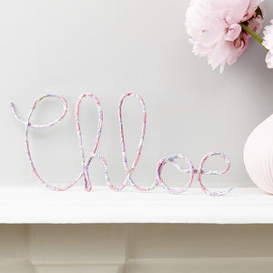 Personalised Sign Pink Liberty Betsy Fabric And Wire