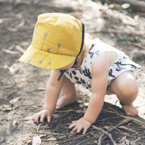 Mustard Arrow Baby Bonnet / Girls Sunhat