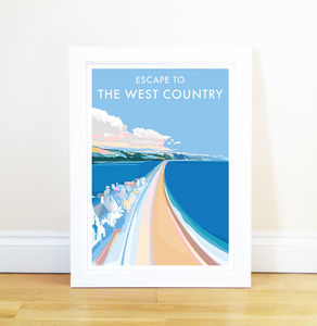 Escape To The West Country Vintage Style Seaside Poster