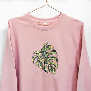 Pink Jumper With Abstract Monstera Embroidery Oversized