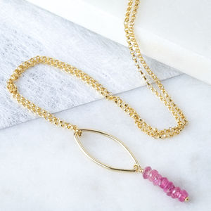 Pink Tourmaline Gold Boho Drop Necklace - necklaces & pendants