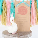 Personalised Gift Bag And Swan Rattle Toy
