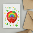 Rainbow Apple Thank You Teacher Card