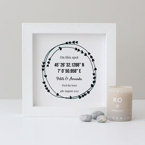 Personalised Coordinates Anniversary Gift - family & home