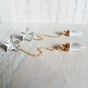 Crystal Star And Drop Earrings - earrings