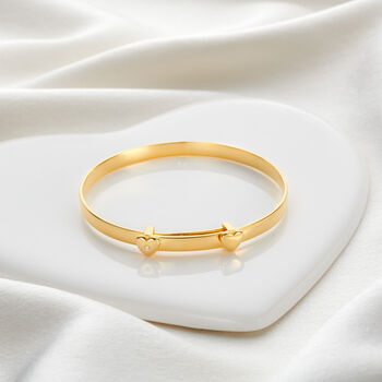 Personalised 18ct Gold Vermeil Diamond Baby Bangle