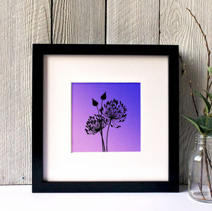 Agapanthus Silhouette Framed Giclee Print - canvas prints & art