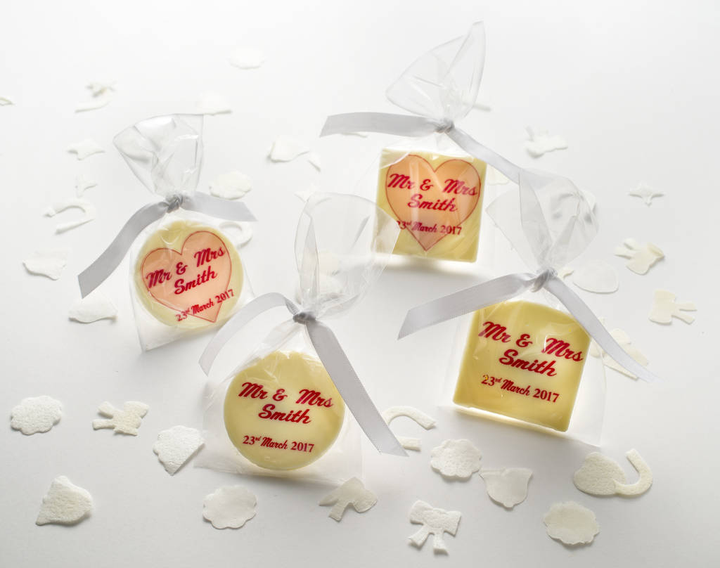 personalised chocolate wedding favours x 10 by the gourmet chocolate ...