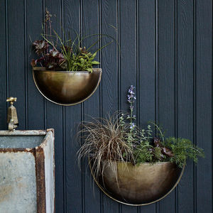 Sola Brass Wall Planter