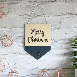 Merry Christmas Wooden Hanging Flag/Pennant - christmas decorations