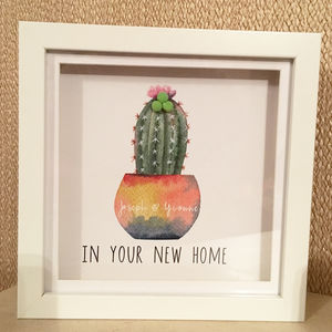 Personalised Memory Frame 3D New Home Cactus