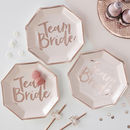 Rose Gold Foiled Team Bride Hen Party Paper Plate