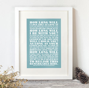 Personalised Favourite Lyrics Poster - anniversary prints