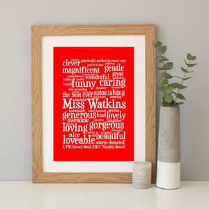 Personalised Teacher Word Art Gift