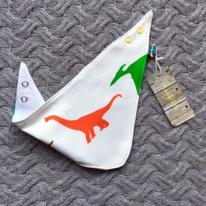 Colourful Dinosaur Organic Dribble Bib