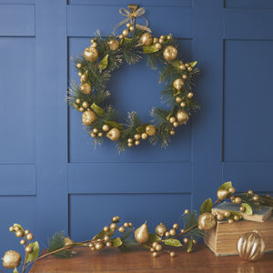 Gold Fruit Door Wreath Or Garland - wreaths