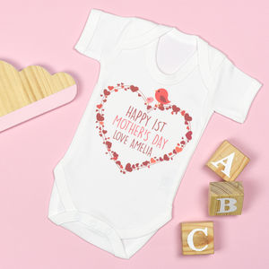 Personalised First Mother's Day Heart Bodysuit - clothing