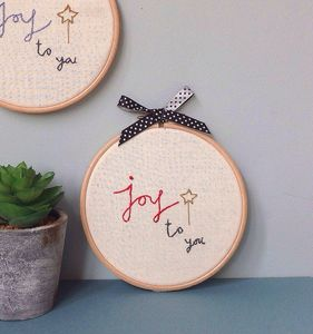 Joy To You Hand Stitched Decorative Hoop - textile art