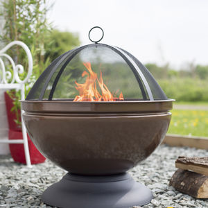 Enamelled Firepit With Grill Patio Heater Bronze - fire pits & outdoor heating