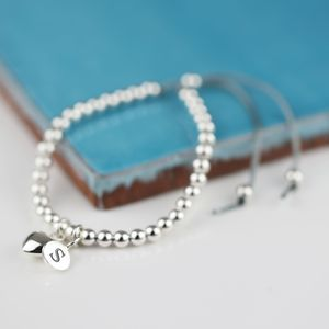 Personalised Silver Heart And Bead Friendship Bracelet - wedding fashion