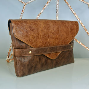 Handcrafted Two Tone Brown Clutch - clutch bags