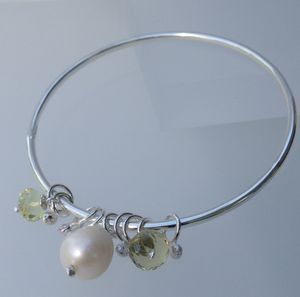 Silver Bangle With Pearl And Lemon Quartz