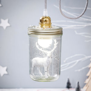 Stag In A Mason Jar Light - children's room