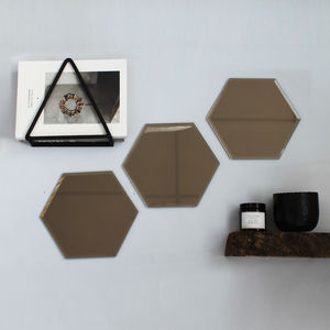 Set Of Smoked Hexagon Mirrors - mirrors