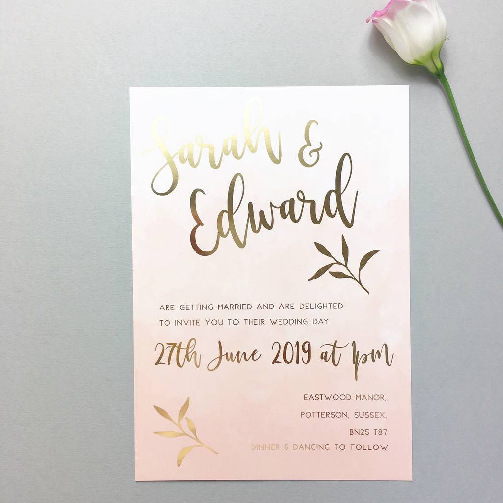 pink blush gold foil wedding invitation by summer lane studio