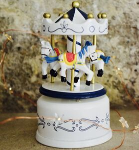Carousel Music Box White And Blue