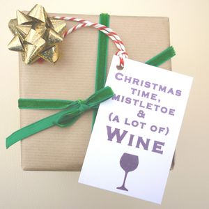 Six 'Wine!' Christmas Gift Tags
