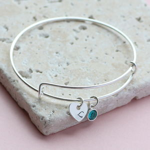 Personalised Heart Birthstone Bangle
