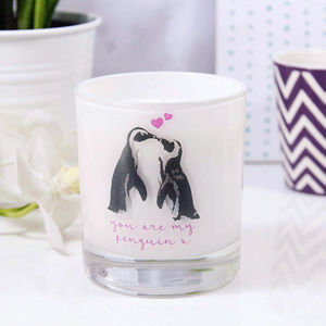 'You're My Penguin' Scented Anniversary Candle - candles & home fragrance