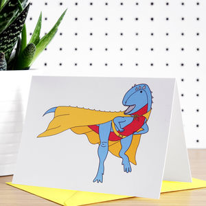 Superhero Dinosaur Greeting Card - winter sale