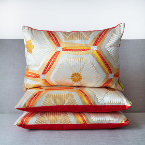 Silk Kimono Cushion Gold Red Cream