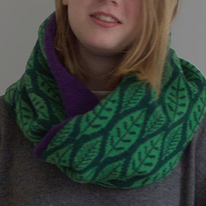 Green Leaf Lambswool Circular Scarf - hats, scarves & gloves