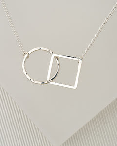 Geometric Square And Circle Silver Necklace