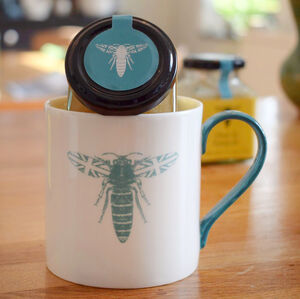 Blue British Bee Mug And Honey Gift Set