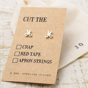 'Cut The' Scissors Silver Earrings - earrings