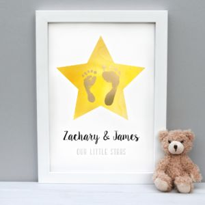 Personalised Little Star Child Hand And Footprint Print