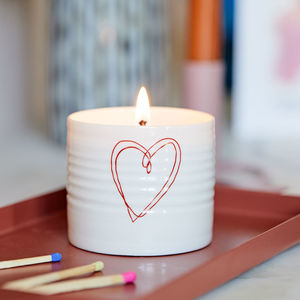 Porcelain Love Heart Candle