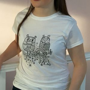Colour In Ladies Owl T Shirt - tops