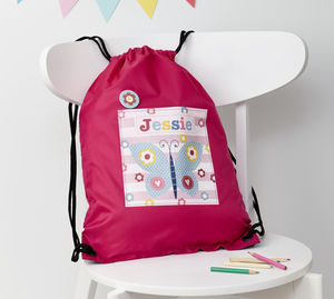 Girls Personalised Butterfly Waterproof Kit Bag