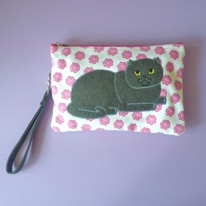 Rosy Cat Cosmetic Pouch / Clutch - winter sale