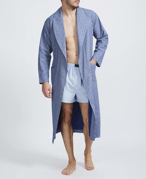 Men's Navy Paisley Cotton Robe