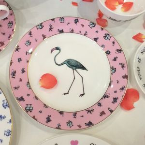 Alice In Wonderland Flamingo Chintz Tea Plate - tableware