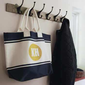 Summer Canvas Beach Bag With Personalised Initials