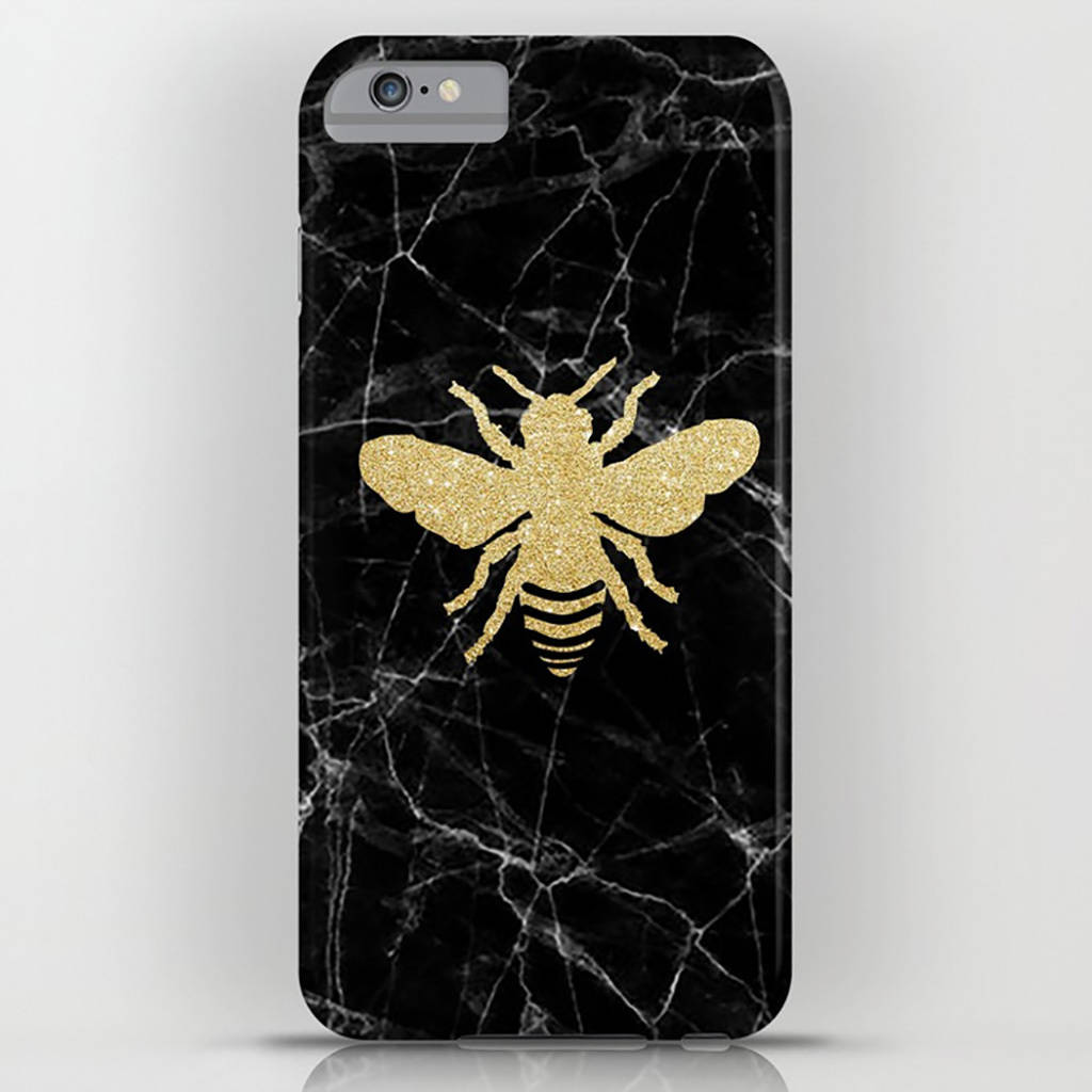 Golden Honey Bee On Black Marble Phone Case