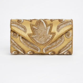 Vegas Art Deco Embellished Clutch In Gold